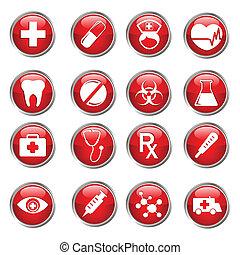 médico, conjunto, icono