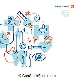 médico, conjunto, iconos