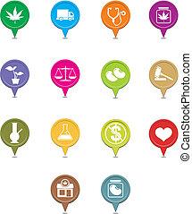 médico, conjunto, indicador, marijuana