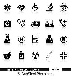 médico, conjunto, salud, iconos