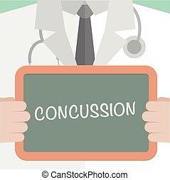 médico, conmoción cerebral, tabla