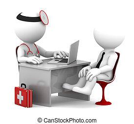 médico, consultation., doutor paciente, falando, escritório