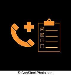 médico, consultration, sinal., laranja, ícone, ligado,...