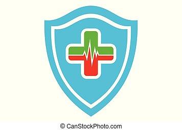 médico, coração, proteção, logotipo