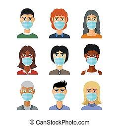 médico, covid-19, parada, novela, concept., plano, pandemia...