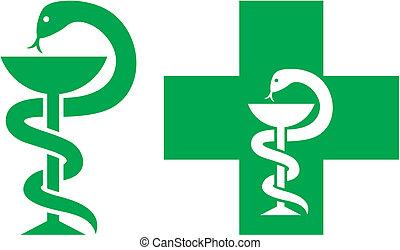 médico, crucifixos, símbolo