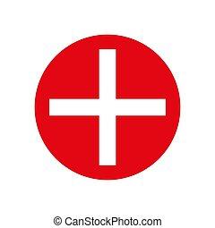 médico, crucifixos, vermelho, circle.