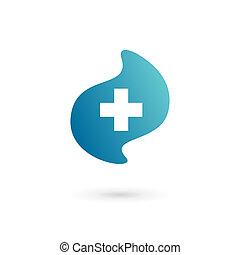 médico, cruz, más, plantilla, logotipo, diseño, icono