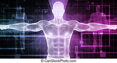 médico, cuerpo, tecnología