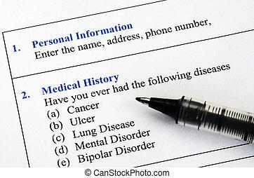 médico, cuestionario, historia