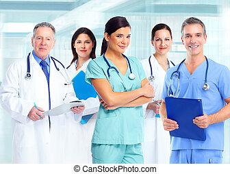 médico, cuidado, saúde, mulher, doutor