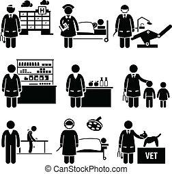 médico, cuidados de saúde, hospitalar, trabalhos