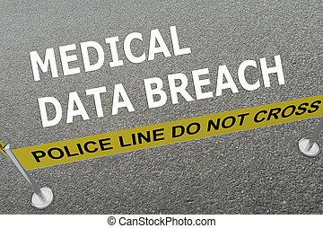médico, dados, rompimento, conceito
