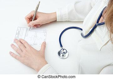 médico de cabecera, escribir, prescripción, (recipe)