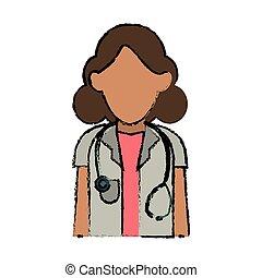 médico de mujer, médico, estetoscopio, profesional, caricatura