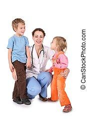 médico de mujer, y, niños, aislado, blanco