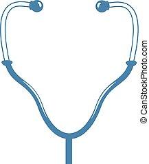 médico, desenhar, instrumental, azul