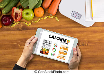 médico, dieta, caloría, mostrador, contar, comida, sano, aplicación, concepto