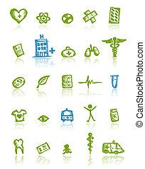 médico, diseño, su, iconos