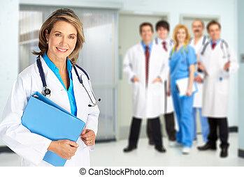 médico, doctors, equipo