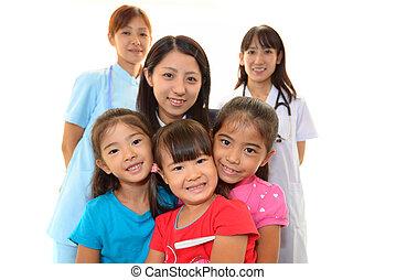 médico, doutor, sorrindo, Asiático