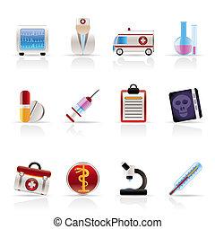 médico, e, cuidados de saúde, ícones