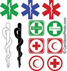 médico, e, farmácia, ícones