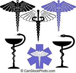 médico, e, farmácia, símbolo