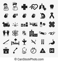 médico, e, hospitalar, ícones, jogo