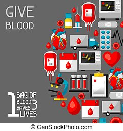 médico, economiza, items., 3, 1, saco, doação, objetos, saúde, sangue, fundo, lives., cuidado