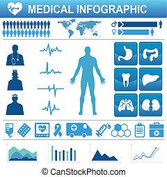 médico, elementos, ícones, infograp, saúde, cuidados de...