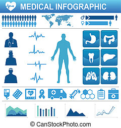 médico, elementos, iconos, infograp, salud, atención...