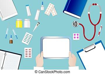 médico, em branco, segurando, tabuleta, tabela, mãos, doutor