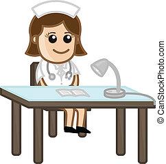 médico, enfermera, caricatura, recepcionista