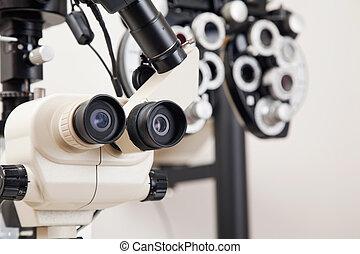 médico, equipments, para, olho, exame