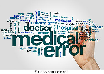 médico, error, palabra, nube