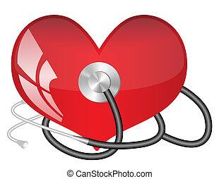 médico, estetoscópio, coração