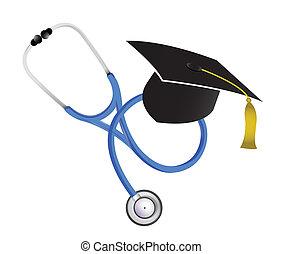 médico, estetoscópio, graduação, ilustração