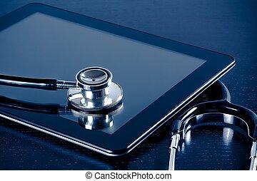 médico, estetoscópio, ligado, modernos, tablete digital, pc,...