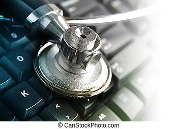 médico, estetoscópio, ligado, teclado