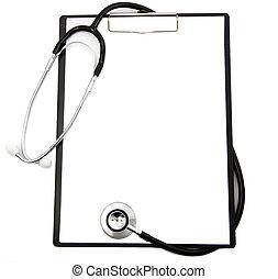 médico, estetoscopio, y, blanco, portapapeles