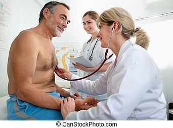 médico, examen