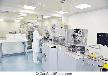 médico, fábrica, e, producao, indoor