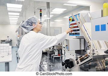médico, fábrica, y, producción, interior