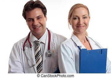 médico, feliz, personal