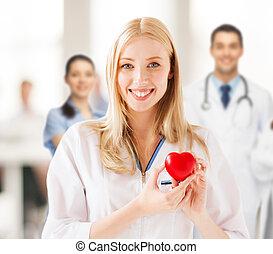 médico feminino, com, coração