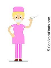 médico feminino, em, uniforme médico, com, siringa