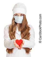médico feminino, segurando, coração vermelho, branco, fundo