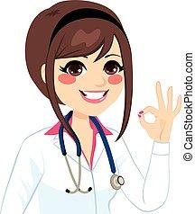 médico feminino, sinal, ok