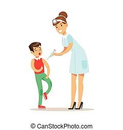 médico feminino, vacinação, saúde médica, pediatra, exame,...
